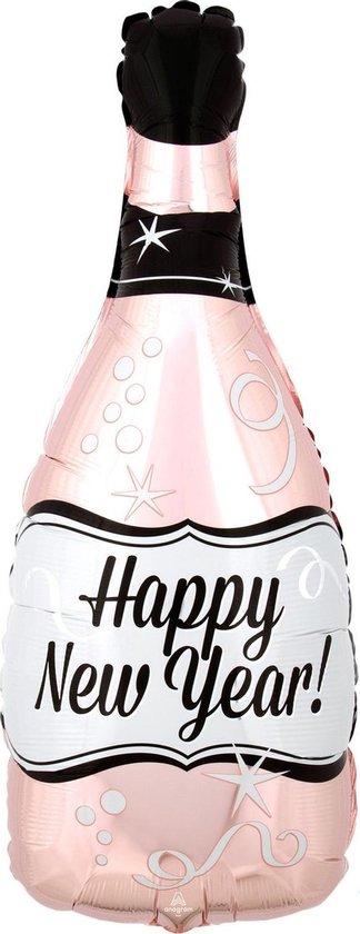 Anagram Folieballon Champagnefles 25 X 66 Cm Roze/zwart/wit