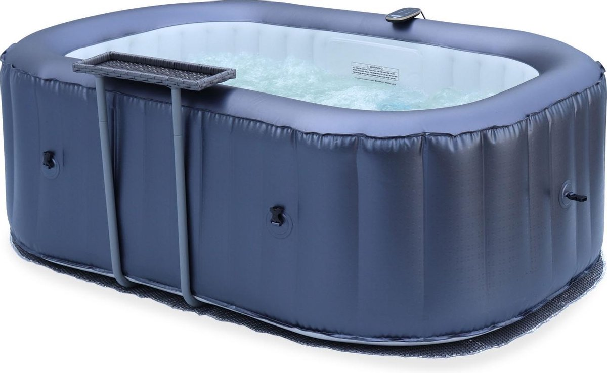 Compacte 2-persoons opblaasbare spa met bijzettafel, vloermat, afdekhoes, opblaasbare cover en afstandsbediening