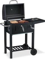 relaxdays houtskool BBQ met deksel - smoker met zijtafel - barbecue op wielen - zwart