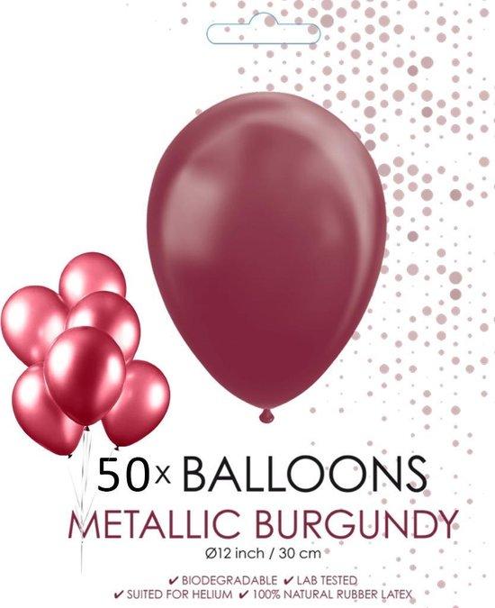 Globos Ballonnen 30,5 Cm Latex Bordeaux Metallic 50 Stuks
