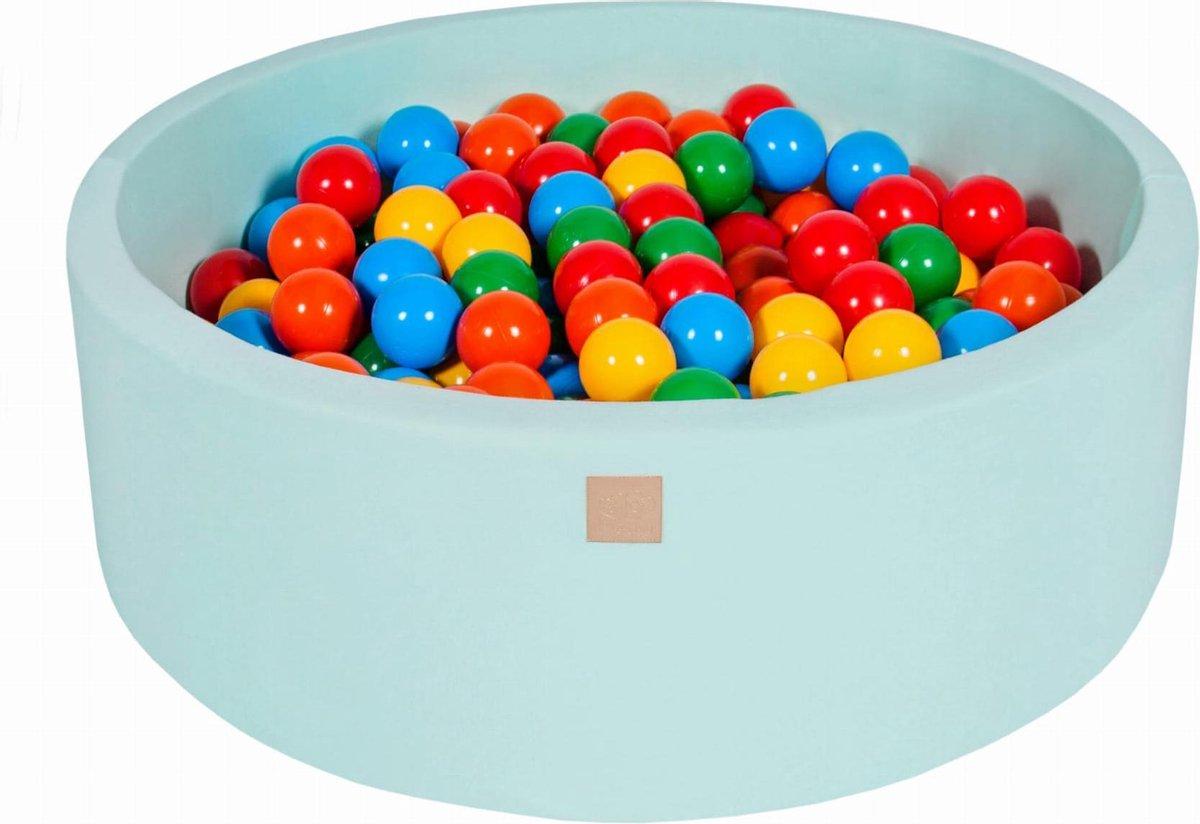 Ronde Ballenbak set incl 300 ballen 90x40cm - Mint: Geel, Rood, Donker Groen, Oranje, Blauw