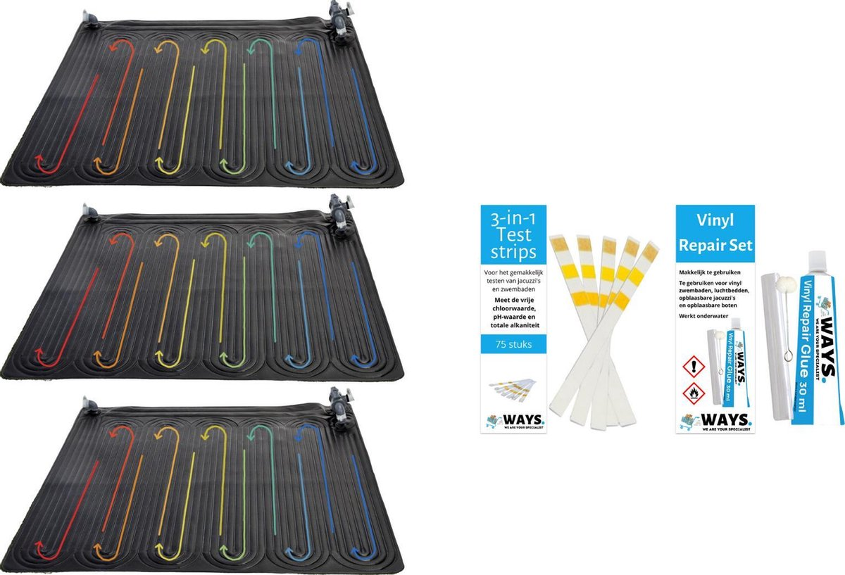 Intex - 3 stuks - Zwembad verwarming - Geschikt voor filterpomp 28604GS / 28638GS & WAYS Reparatieset en Teststrips