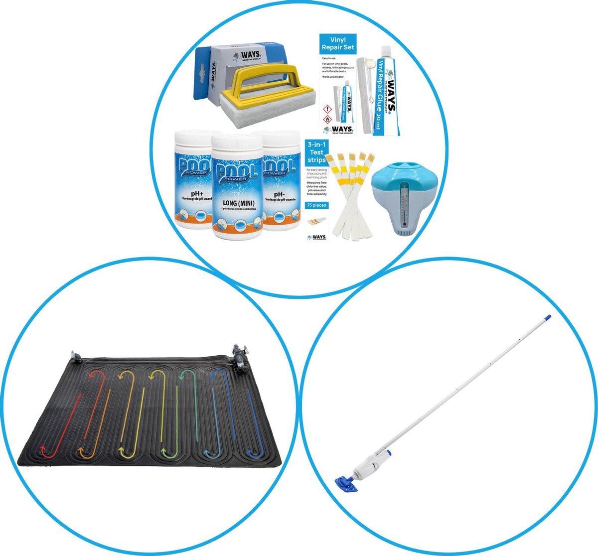 WAYS - Zwembad Accessoirepakket 3-delig - WAYS Onderhoudspakket & Zwembad verwarming & Zwembad stofzuiger