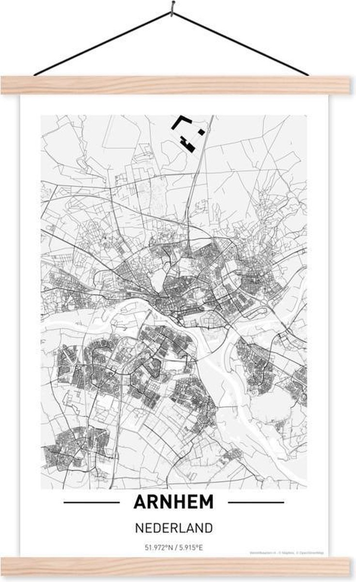 Stadskaart Arnhem textielposter latten blank - Plattegrond 120x180 cm - Foto print op schoolplaat (wanddecoratie woonkamer/slaapkamer) XXL / Groot formaat!