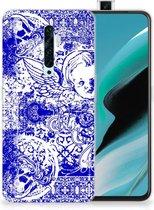 Silicone Back Case OPPO Reno2 Z Angel Skull Blue
