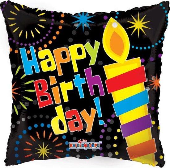 Helium Ballon Vierkant Happy Birthday Kaars 45cm leeg