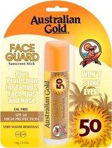 Australian Gold SPF 50 Face Guard Stick Zonnebrand - 14 ml - voor gezicht