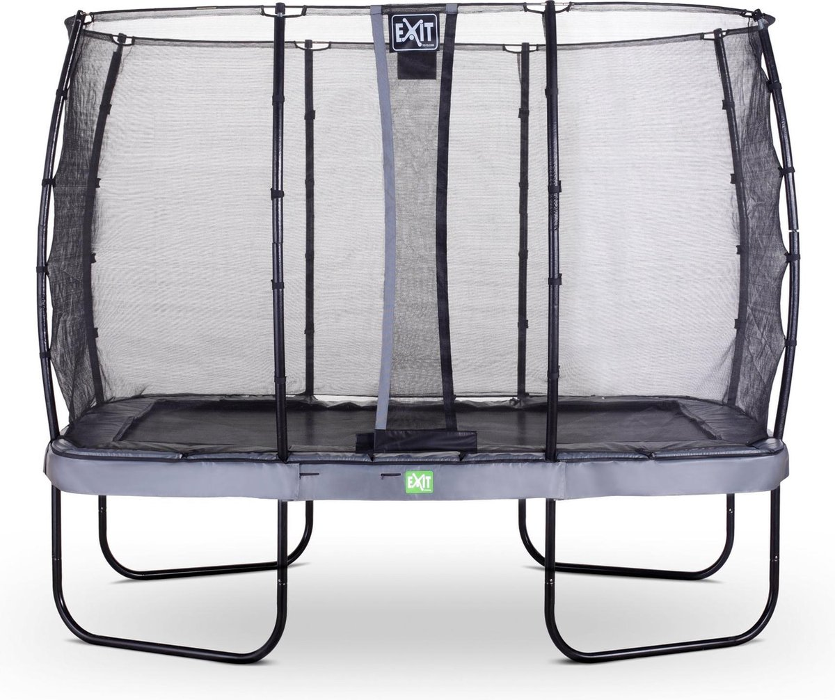 Trampoline EXIT Elegant - 214x366cm met veiligheidsnet Economy - grijs