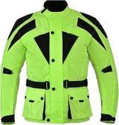 Urban Leather Cordura Motorjas Heren - Fluor Geel - Maat XL