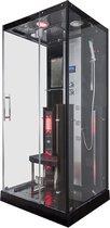 Sverra Rustica Infrarood Stoomcabine 1 persoons Black 90x100x215 cm Sauna met mengkraan regendouche massagejets LED-verlichting Bluetooth
