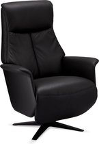 Sala relaxstoel fauteuil met elektrische rugleuning en voetensteun, draaivoet, zwart PU kunstleer, zwart metaal.
