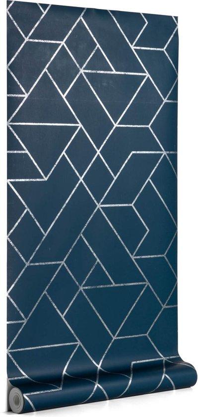 Kave Home - Behang Gea blauw en zilver 10 x 0,53 m