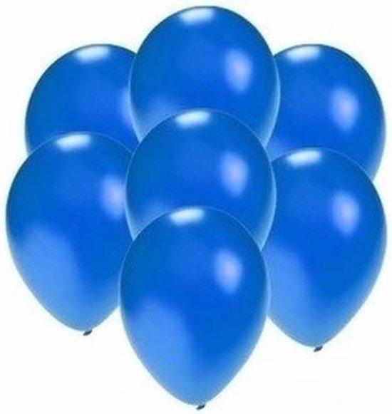 Kleine metallic blauwe party ballonnen 60 stuks - Feestartikelen versiering mini ballonnen van 13 cm