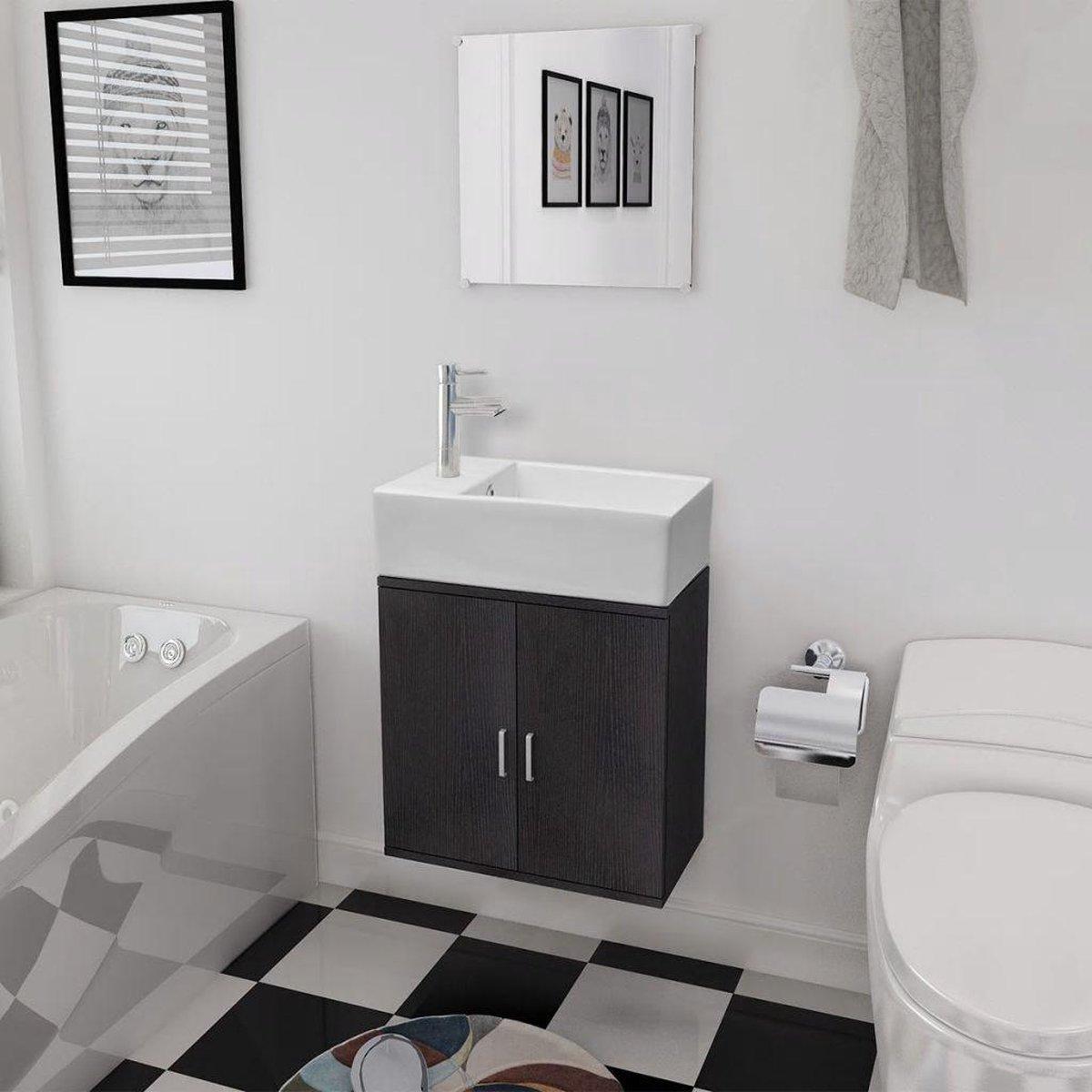 Badkamermeubelset met wasbak zwart 3-dlg