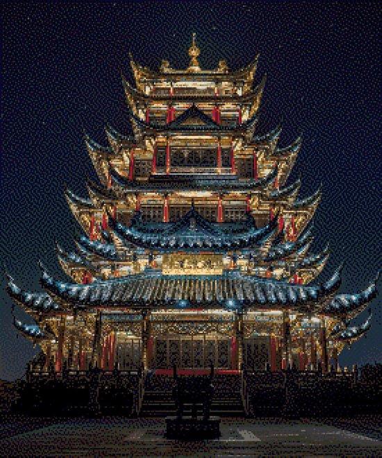 MyHobby Borduurpakket –  Tempel bij nacht 50×60 cm - Aida stof 5,5 kruisjes/cm (14 count)