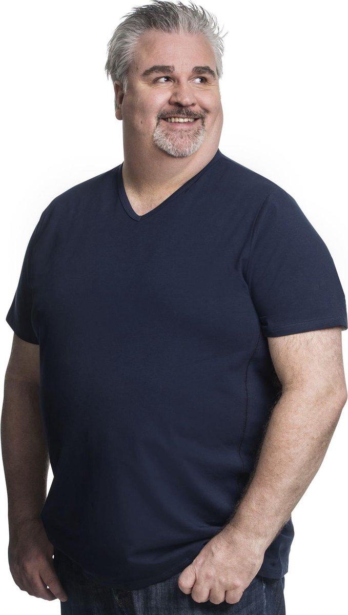 4XL 2pack T-shirt heren V-hals blauw   Grote maten V-hals T-shirt   Buikmaat 138 -145 cm buikomvang