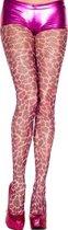 Music Legs - Visnetpanty Met Luipaard Print - Roze