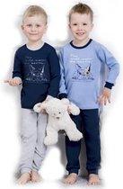 Kinderpyjama Olek 858 donker blauw met een hond opdruk en grijze broek - 116