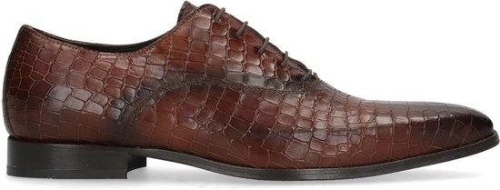 Black label - Heren - Bruine veterschoenen met crocoprint - Maat 41