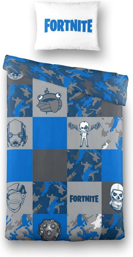 Fortnite Faces Dekbedovertrek - 140x200cm - Eenpersoons - Blauw