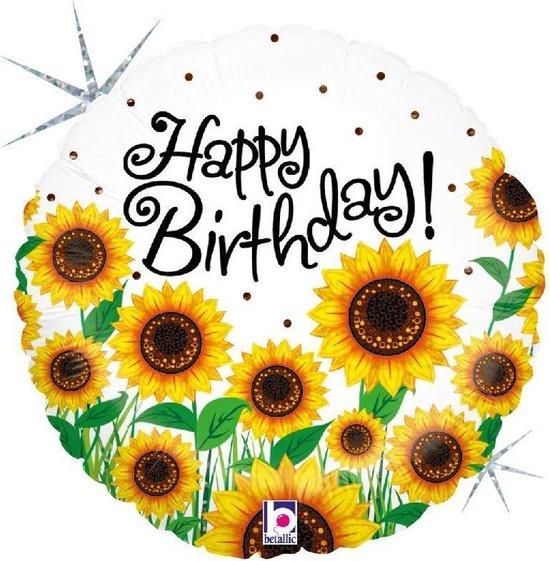 Folie cadeau sturen helium gevulde ballon Gefeliciteerd/Happy Birthday zonnebloemen 46 cm - Folieballon verjaardag versturen/verzenden