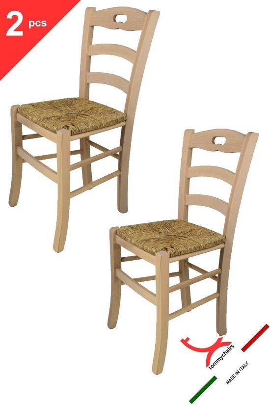 Tommychairs - Set van 2 klassieke stoelen model Savoie. Zeer geschikt voor keuken, bar en eetkamer, sterke structuur in gepolijst beukenhout, niet behandeld, 100% natuurlijk en zitting in stro