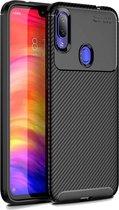 Samsung Galaxy A11 - Hoesje TPU Flexibele beschermhoes - Carbon Fibre zwart