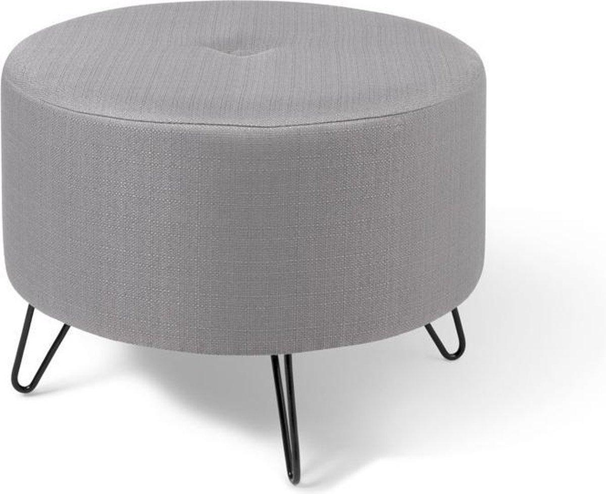 LIFA LIVING Moderne poef - lichtgrijs - multifunctioneel - voetenbankje - bijzettafel -rond - polyester - 55 x 35 cm - Lifa-Living