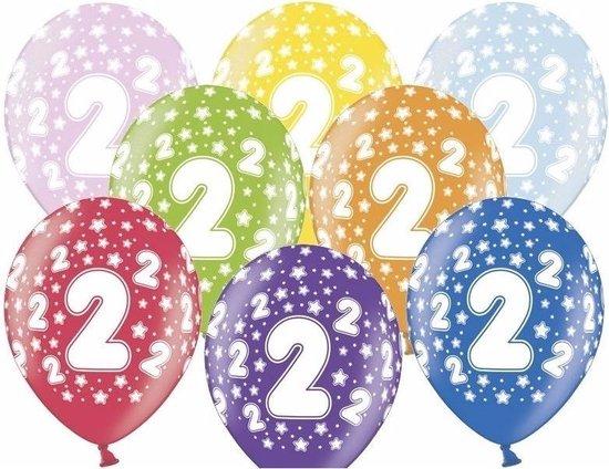 24x stuks verjaaardag ballonnen 2 jaar thema met sterretjes - Feestartikelen en versiering