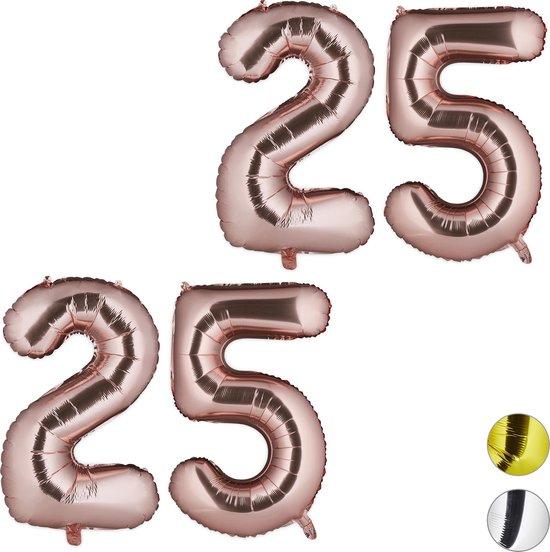 relaxdays 2x folie ballon 25 - cijferballon - verjaardag folieballon cijfer - rosegoud