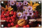 Tuinposter –Bloemen met Kastanjes– 60x40 Foto op Tuinposter (wanddecoratie voor buiten en binnen)