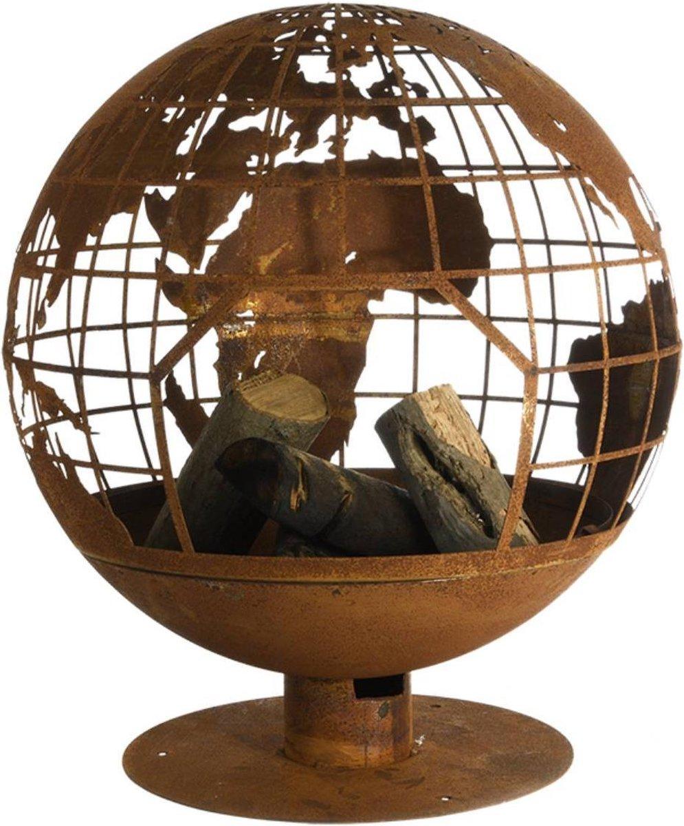 Vuurbal laser cut roest wereldbol kopen