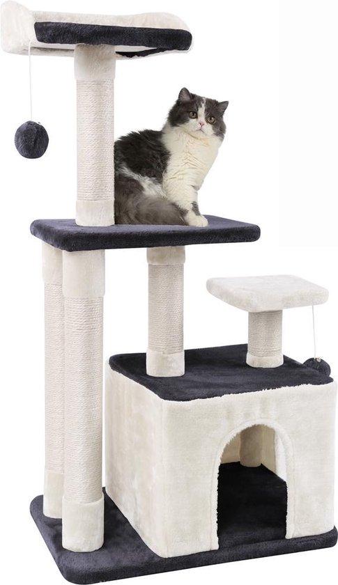 MC Star 100cm Krabpaal met schraper Meerdere platforms, Tweedeurs kattengrotten, Speelgoedballen met bellen, Krabbed Natuurlijk Sisal Katten Spelletjes - Grijs&Beige, 100cm