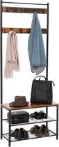 Kapstok, garderoberek, zitbank, schoenenrek en bank met planken, hoogte 175 cm - Zwart en bruin