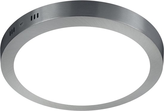 LED Plafondlamp - Plafondverlichting - Trion Sonta - 17W - Warm Wit 3000K - Rond - Mat Nikkel - Aluminium