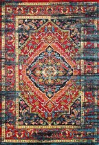 Vintage Marrakech Vloerkleed Zwart / Multi Laagpolig - 120x170 CM