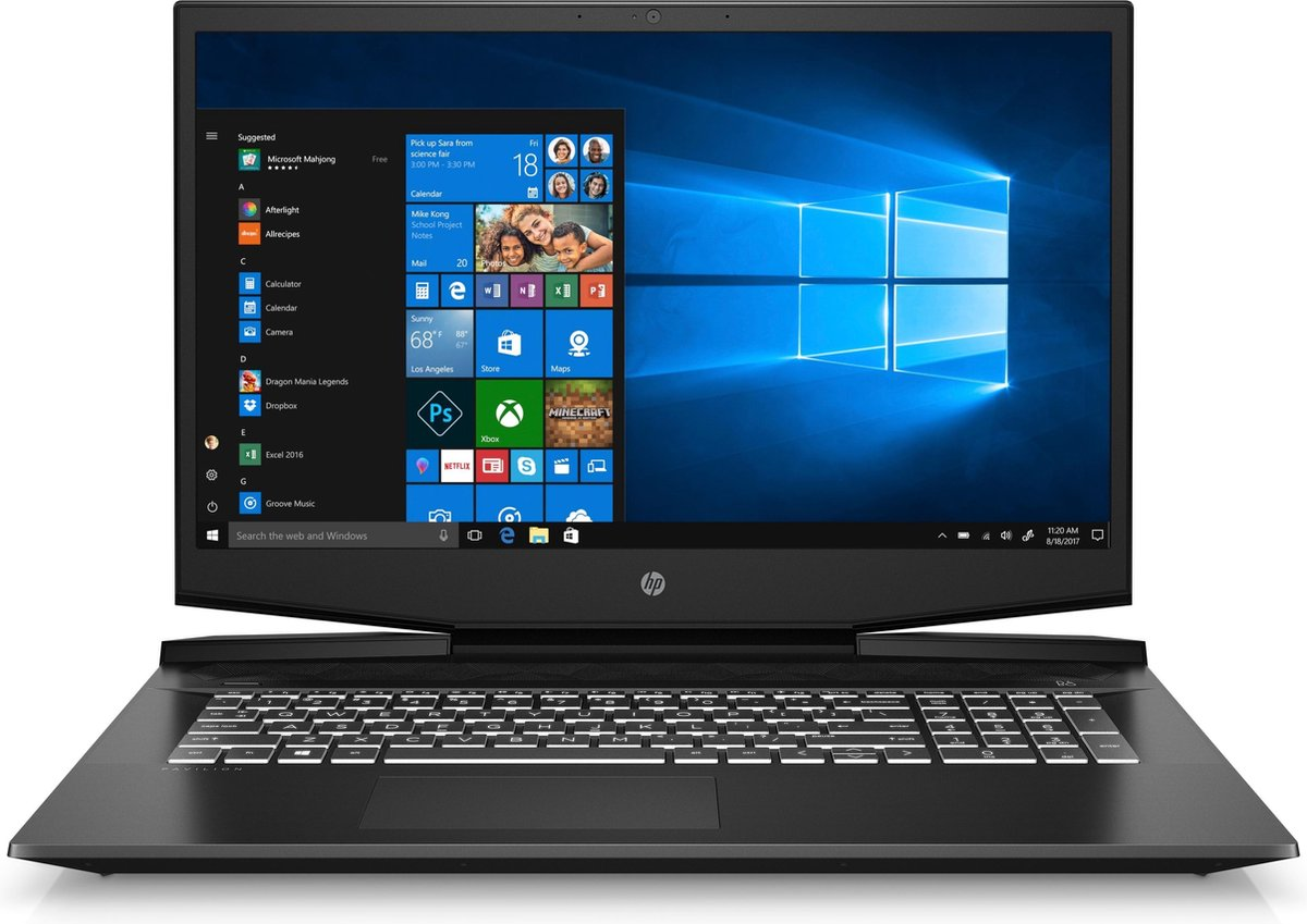 "HP Pavilion Gaming 17-cd1200nd DDR4-SDRAM Notebook 43,9 cm (17.3"") 1920 x 1080 Pixels Intel® 10de generatie Core™ i5 8 GB 512 GB SSD NVIDIA® GeForce® GTX 1650 Ti Wi-Fi 6 (802.11ax) Windows 10 Home Zwart"