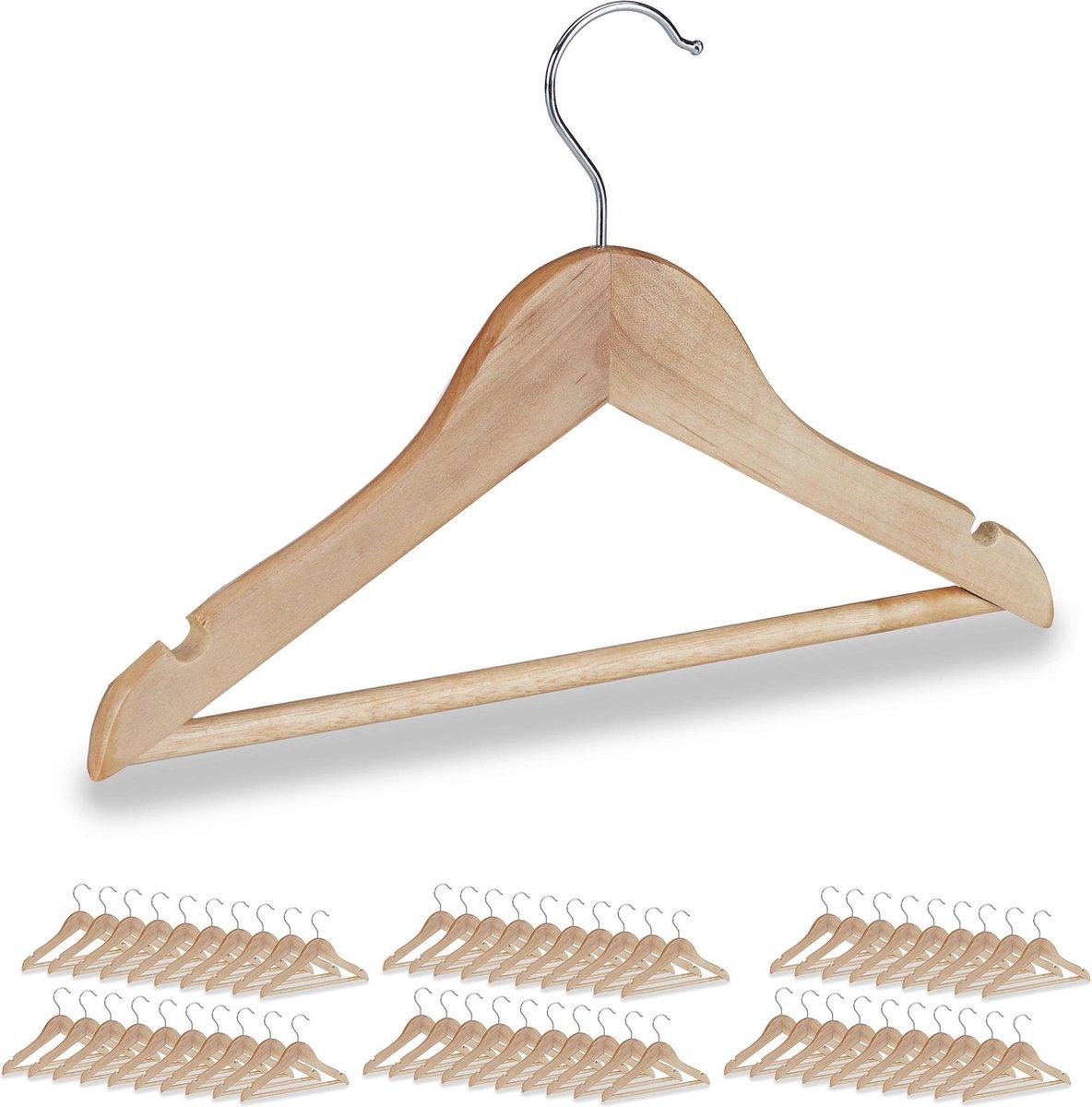 relaxdays 4x kinderkledinghanger - kledinghangers hout - set - broeklat -  draaibare haak
