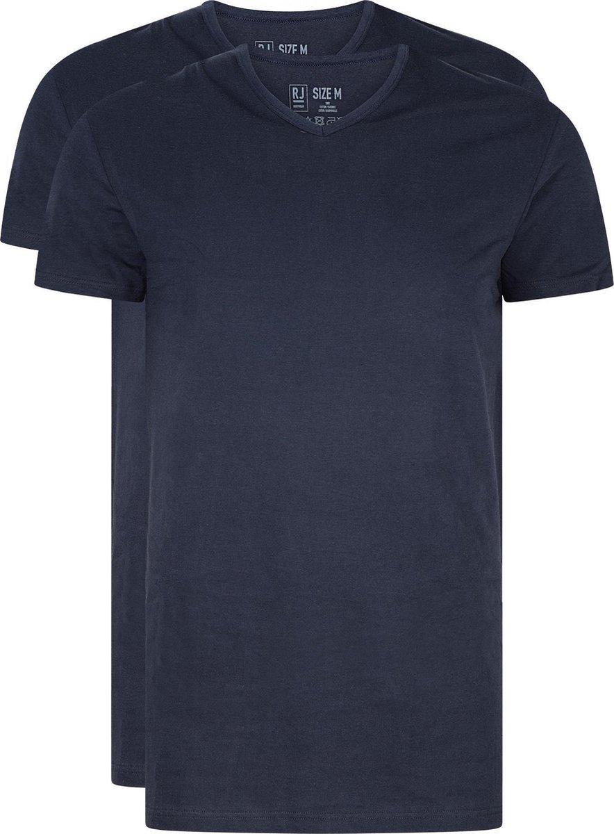 RJ Bodywear Everyday - Gouda - 2-pack - T-shirt V-hals smal - donkerblauw -  Maat XXXL