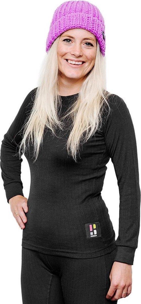 Poederbaas Thermoshirt thermokleding sport Pro Thermo Baselayer Shirt - Dames - lange mouwen - zwart - -
