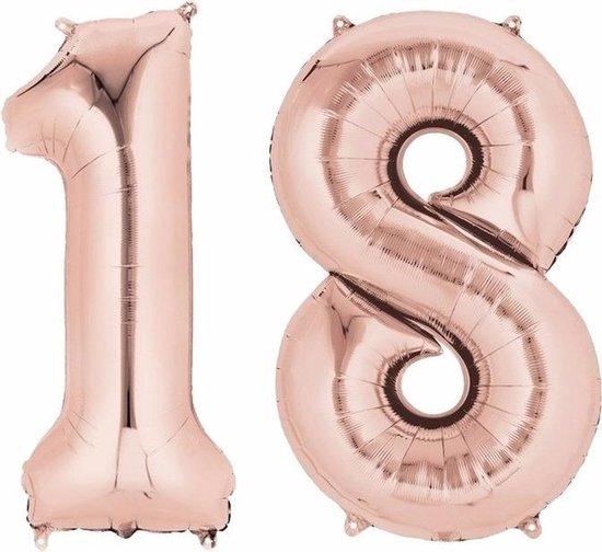Folie ballon cijfer 18 rose goud