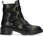 Sacha - Dames - Zwarte biker boots met 3 gespen