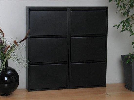 Pisa schoenenkast zwart metaal met 3 vakken - set van 2.