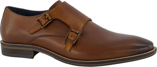 AM shoe Heren Cognac leren geklede schoen gespsluiting - Maat 40
