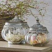 LOBERON Glazen potten set van 2 Madelon helder/zilverkleurig
