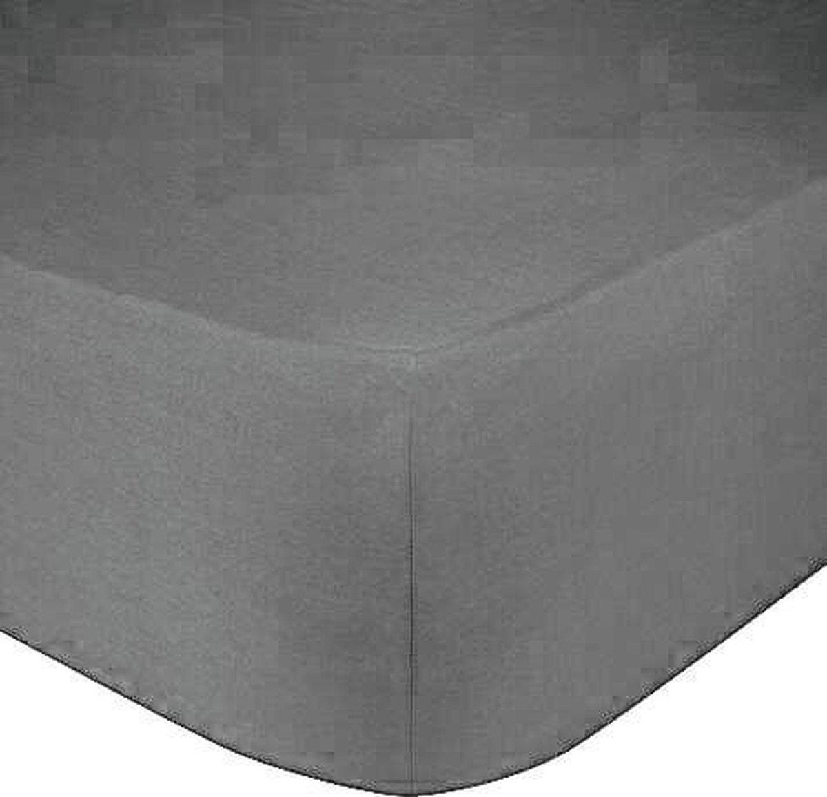 Het Ultieme Zachte Hoeslaken- Jersey -Stretch -100% Katoen-Lits-Jumeaux- 200x220+40cm- Antraciet  -