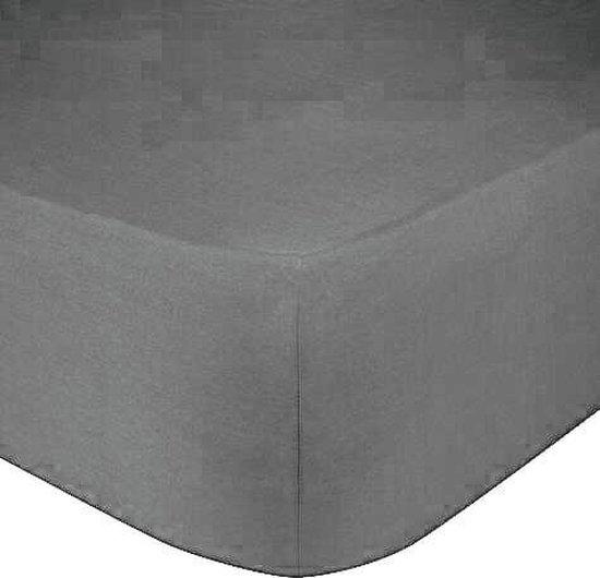 Het Ultieme Zachte Hoeslaken- Jersey -Stretch -100% Katoen-Lits-Jumeaux- 200x220+40cm- Antraciet  - Voor Boxspring-Waterbed