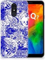 Silicone Back Case LG Q7 Angel Skull Blue