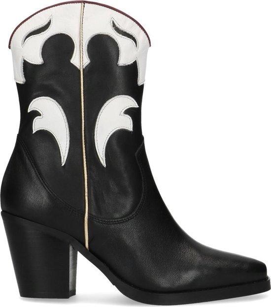 Manfield Dames Zwarte cowboylaarzen met witte details Maat 39
