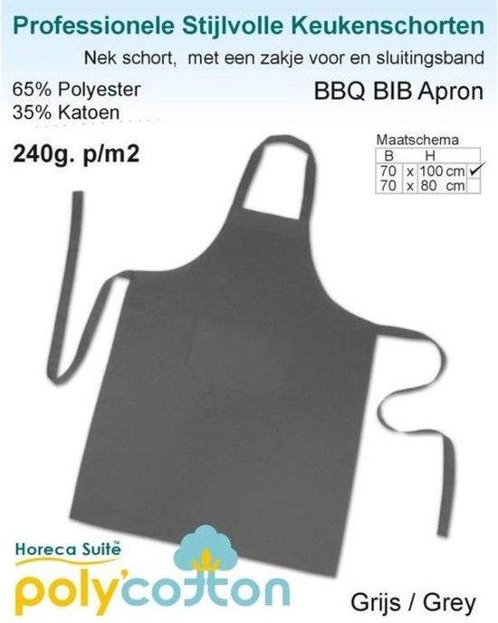 Keukenschorten BBQ BIB Apron - Antraciet Donker grijs - 70x100